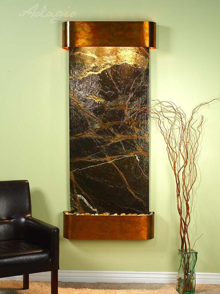 Inspiration Falls - Rainforest Green Marble - Rustic Copper - Rounded Corners - Soothing Walls