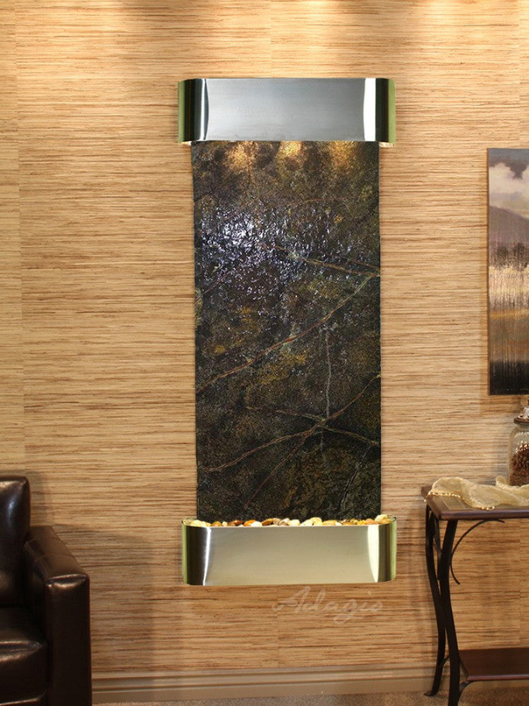 Inspiration Falls: Rainforest Green Marble and Stainless Steel Trim with Rounded Corners