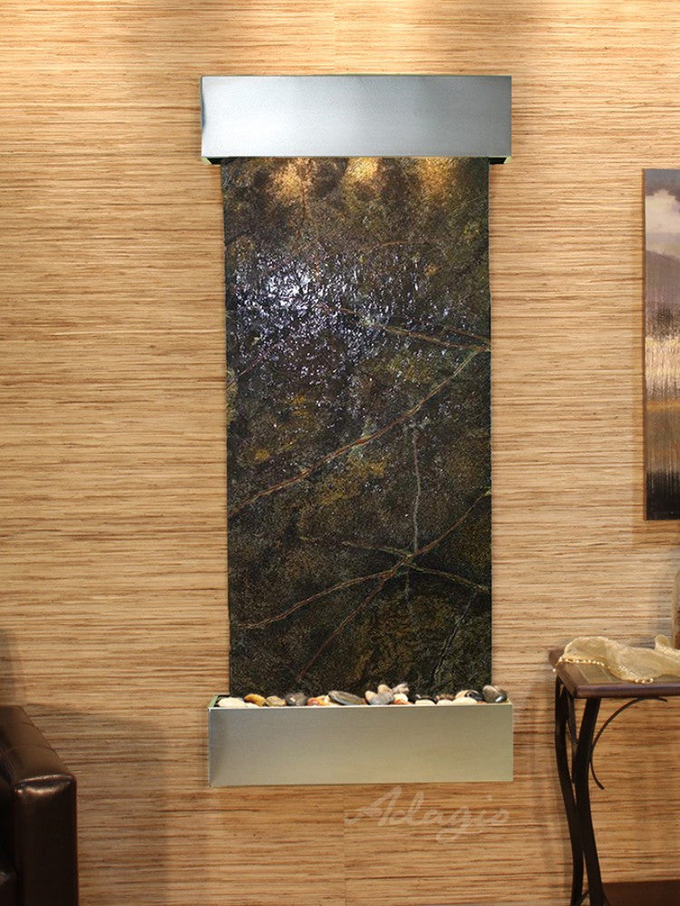 Inspiration Falls - Rainforest Green Marble - Stainless Steel - Squared Corners - Soothing Walls