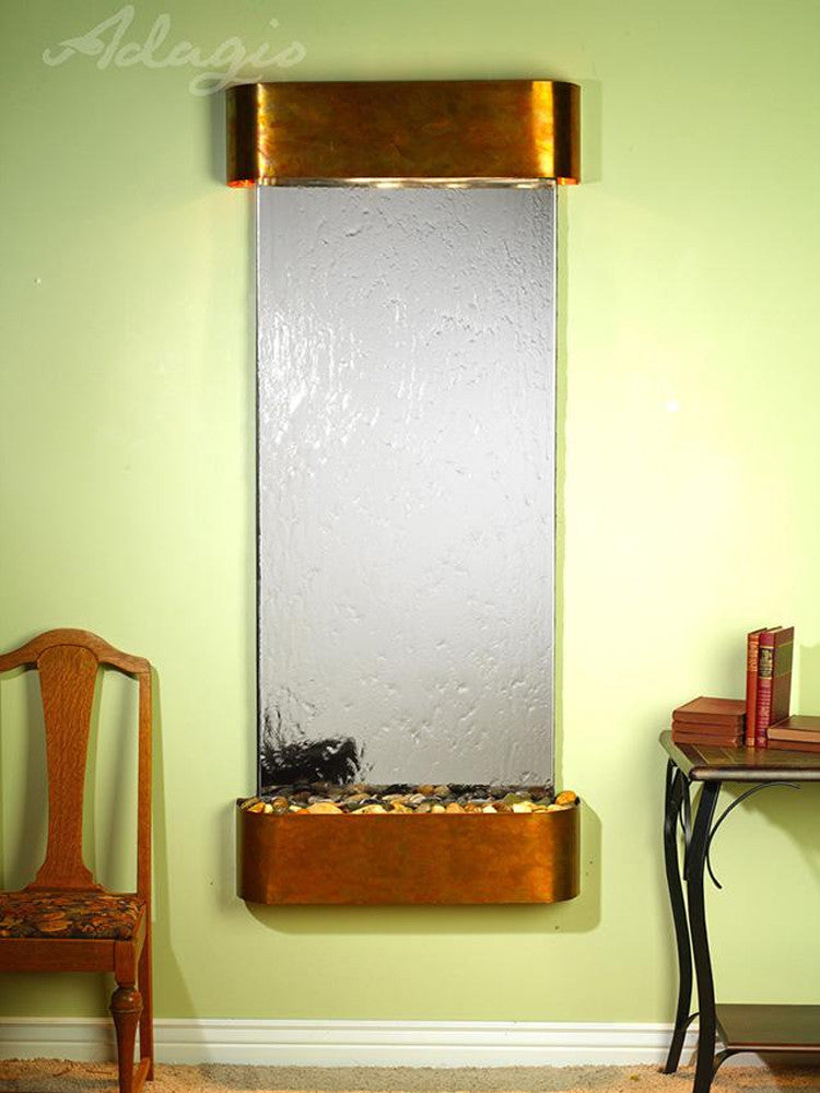 Inspiration Falls - Silver Mirror - Rustic Copper - Rounded Corners - Soothing Walls