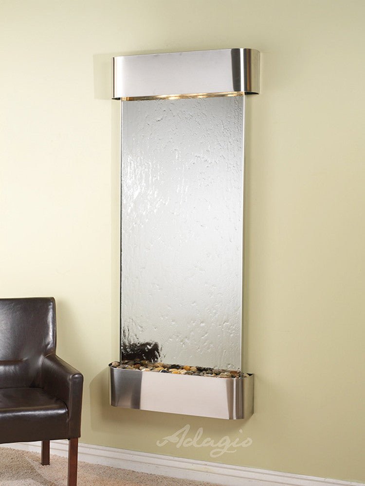 Inspiration Falls - Silver Mirror - Stainless Steel - Rounded Corners - Soothing Walls