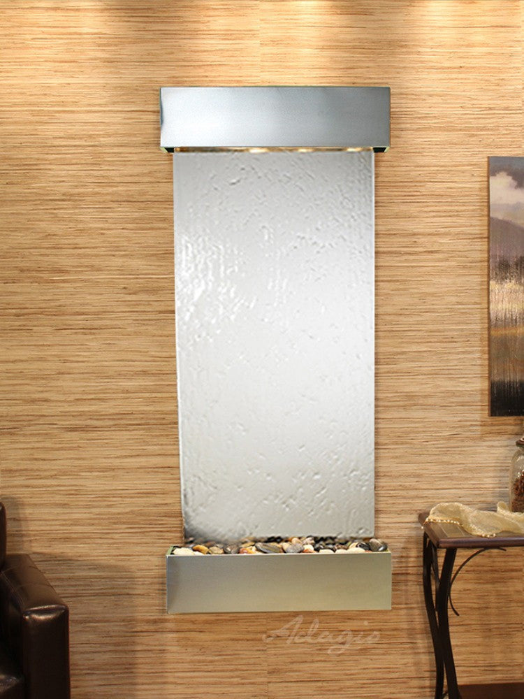 Inspiration Falls - Silver Mirror - Stainless Steel - Squared Corners - Soothing Walls