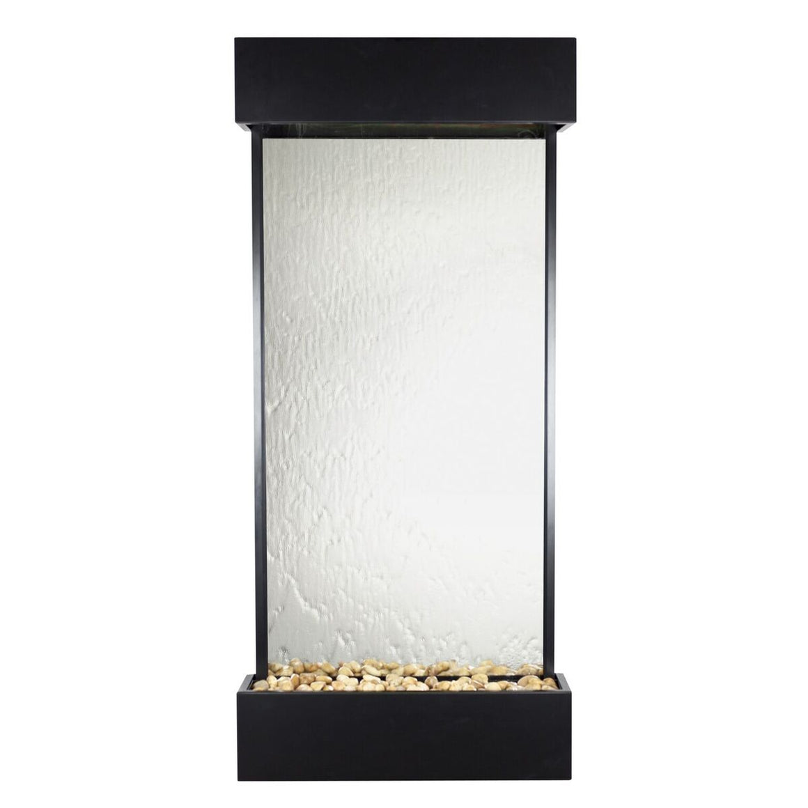 Echo Falls Large Vertical Silver Mirror with Black Trim - Soothing Walls