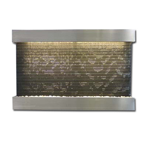 Large Horizon Falls Classic Quarry Wall Fountain - Black Granite/Brushed Stainless Steel - Soothing Walls