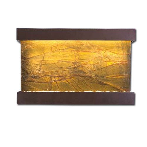 Large Horizon Falls Classic Quarry Wall Fountain - Rainforest Brown Marble/Copper Vein - Soothing Walls