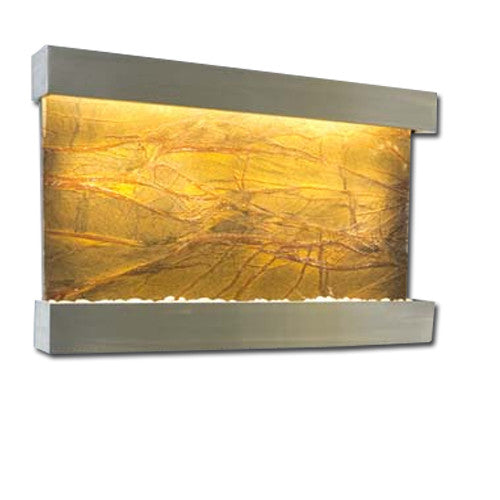 Large Horizon Falls Classic Quarry Wall Fountain - Rainforest Brown Marble/Brushed Stainless Steel - Soothing Walls