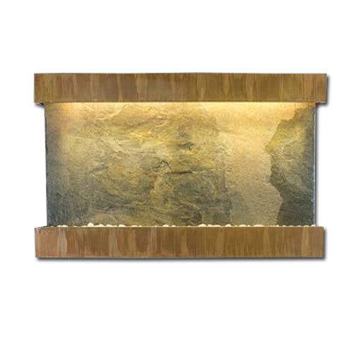 Large Horizon Falls Classic Quarry Wall Fountain - Jeera Slate/Copper Patina - Soothing Walls