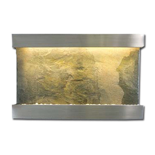 Large Horizon Falls Classic Quarry Wall Fountain - Jeera Slate/Brushed Stainless Steel - Soothing Walls