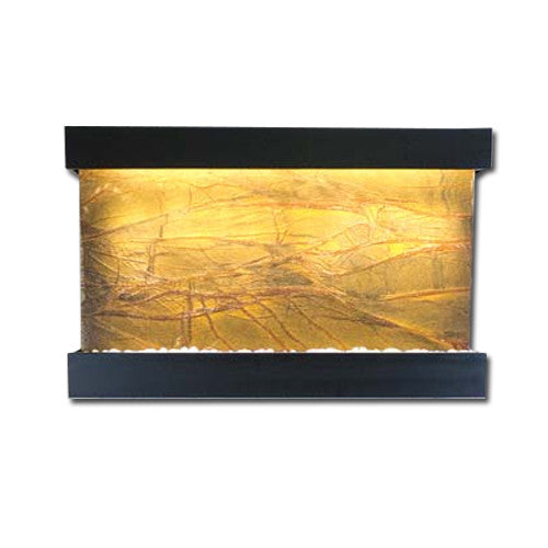 Large Horizon Falls Classic Quarry Wall Fountain - Rainforest Brown Marble/Black Onyx - Soothing Walls