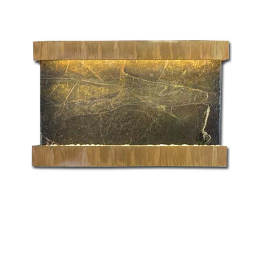 Large Horizon Falls Classic Quarry Wall Fountain - Rainforest Green Marble/Copper Patina - Soothing Walls
