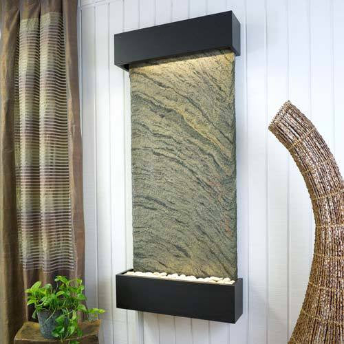 classic quarry nojoqui falls wall fountain rajah slate with coppervein trim soothing walls - Slate Wall Fountains Indoor