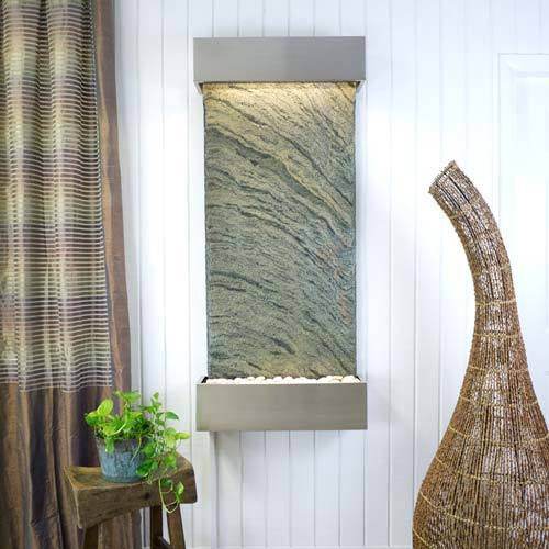 Classic Quarry Nojoqui Falls Wall Fountain - Jeera Slate with Brushed Stainless Steel Trim - Soothing Walls