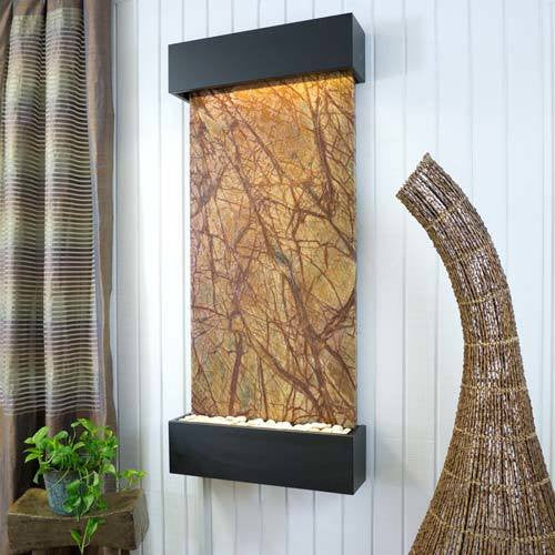 Classic Quarry Nojoqui Falls Wall Fountain - Rainforest Brown Marble with Black Onyx Trim - Soothing Walls