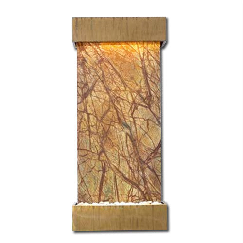 Classic Quarry Nojoqui Falls Wall Fountain - Rainforest Brown Marble with Copper Patina Trim - Soothing Walls