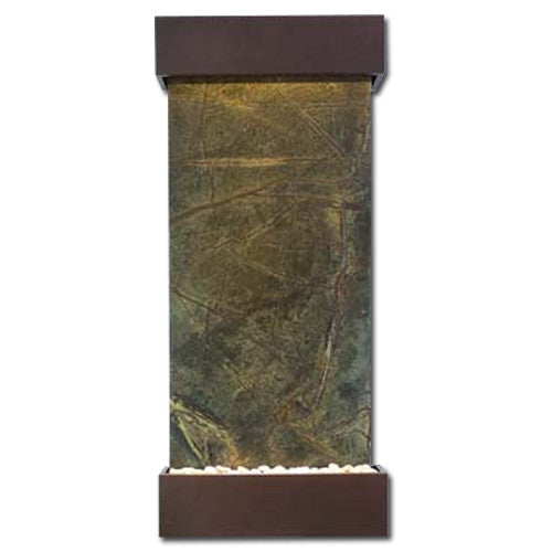 Classic Quarry Nojoqui Falls Wall Fountain - Rainforest Green Marble with Copper Vein Trim - Soothing Walls