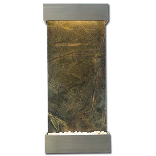 Classic Quarry Nojoqui Falls Wall Fountain - Rainforest Green Marble with Brushed Stainless Steel Trim - Soothing Walls