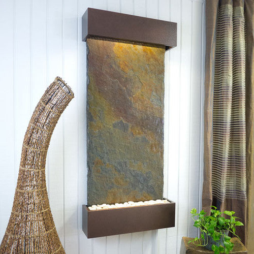 Classic Quarry Nojoqui Falls Wall Fountain - Rajah Slate with Copper Vein Trim - Soothing Walls