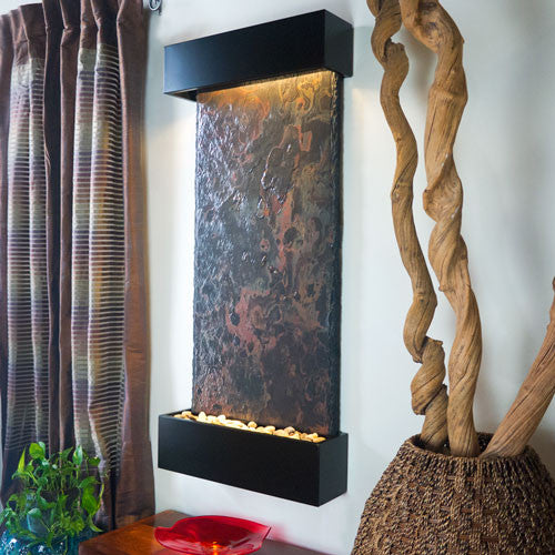Large Nojoqui Falls Wall Fountain With Black Onyx Trim - Soothing Walls