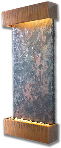 Large Nojoqui Falls Wall Fountain With Copper Patina Trim - Soothing Walls