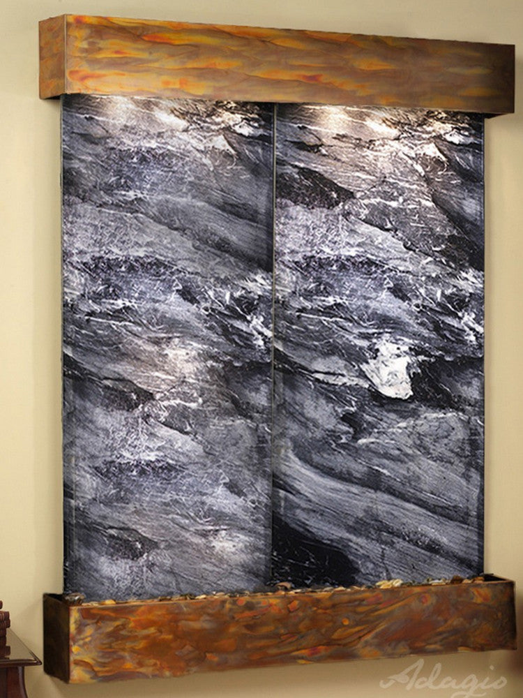 Majestic River: Black Spider Marble and Rustic Copper Trim with Squared Corners