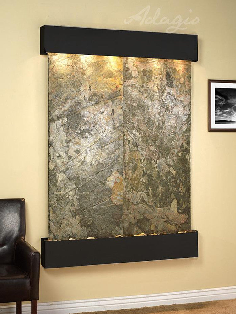 Majestic River - Green Slate - Blackened Copper - Square Corners - Soothing Walls