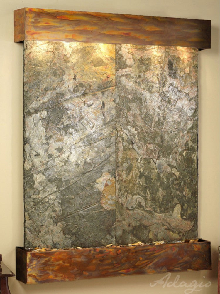 Majestic River - Green Slate - Rustic Copper - Squared Corners - Soothing Walls