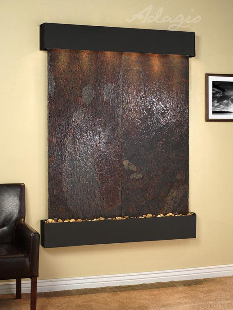 Majestic River: Multi-Color Slate and Blackened Copper Trim with Squared Corners