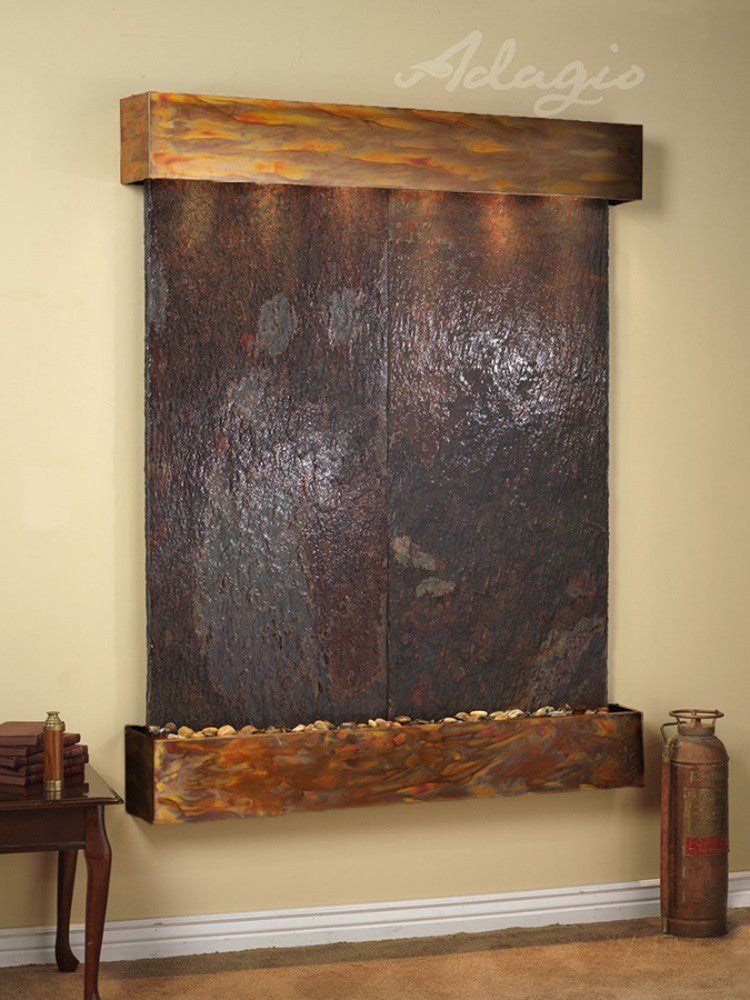 Majestic River - Multi-Color Slate - Rustic Copper - Squared Corners - Soothing Walls