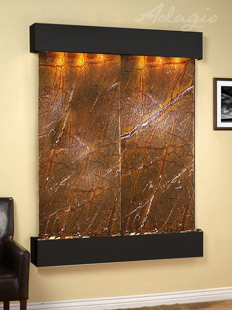 Majestic River: Rainforest Brown Marble and Blackened Copper Trim with Squared Corners