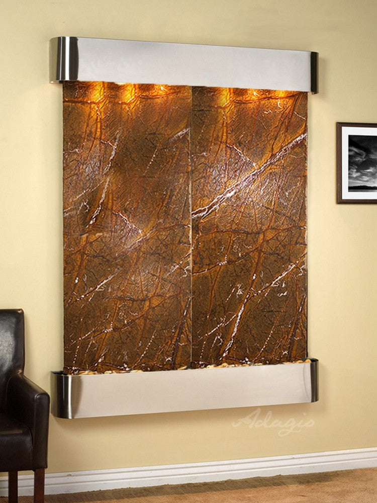 Majestic River: Rainforest Brown Marble and Stainless Steel Trim with Rounded Corners