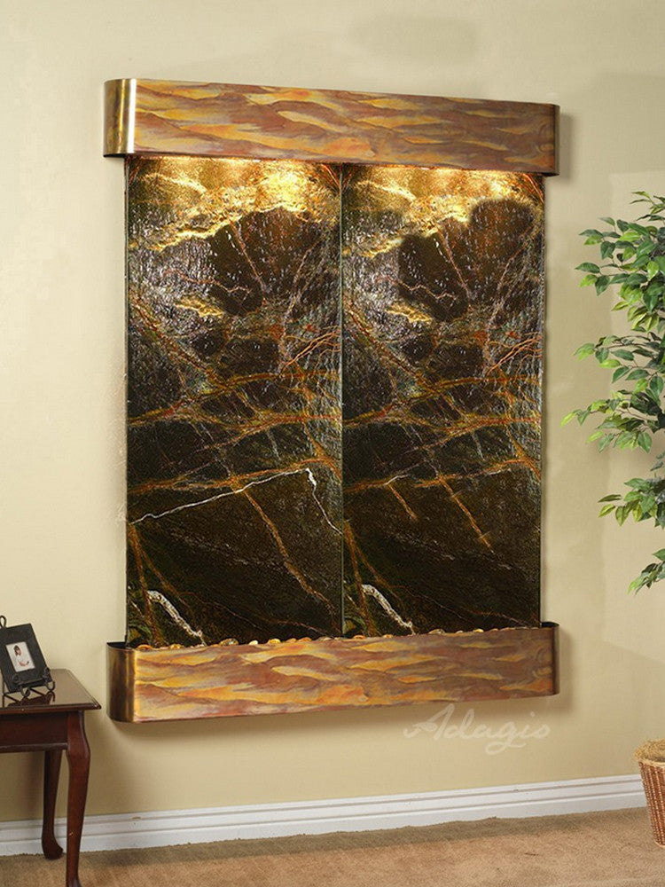 Majestic River:  Rainforest Green Marble and Rustic Copper Trim with Rounded Corners