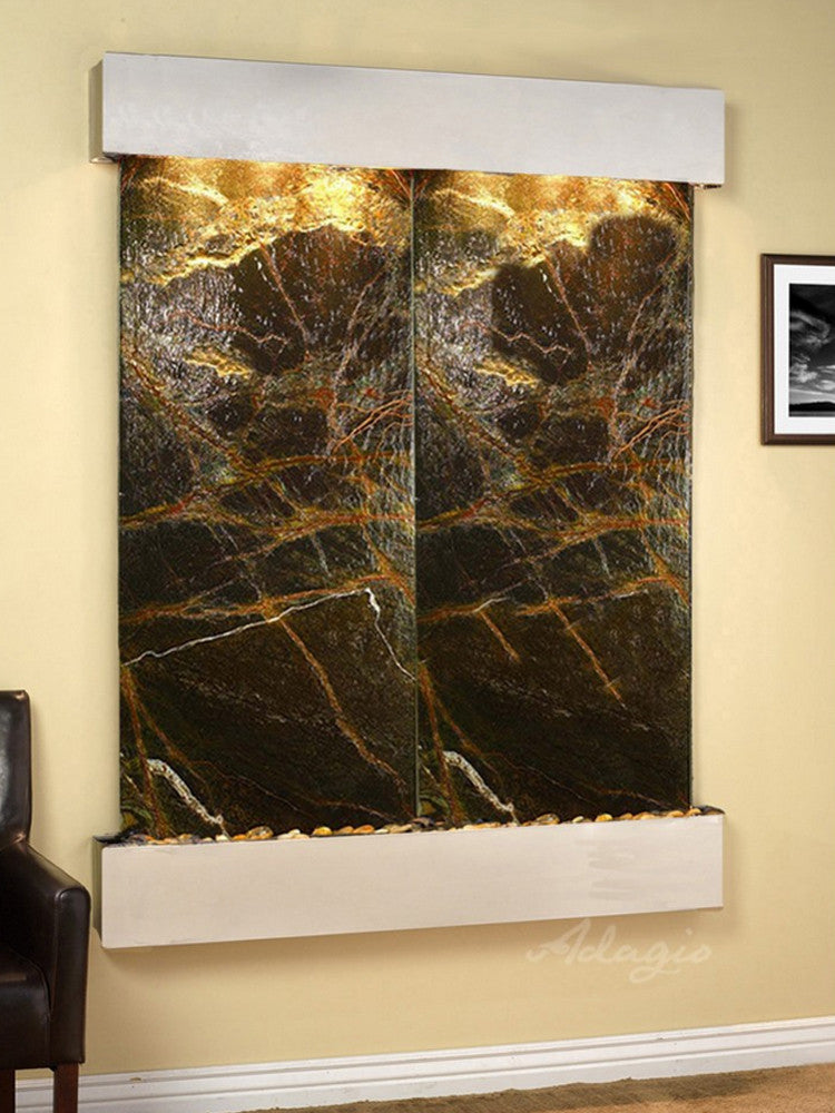 Majestic River: Rainforest Green Marble and Stainless Steel Trim with Squared Corners
