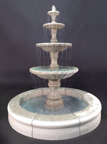 Monaco 4-Tier Fountain with Fiore Pond, Gray - Soothing Walls