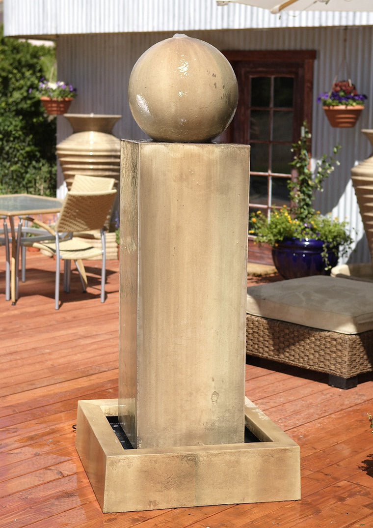 Monolith Outdoor Fountain with Ball - Soothing Walls