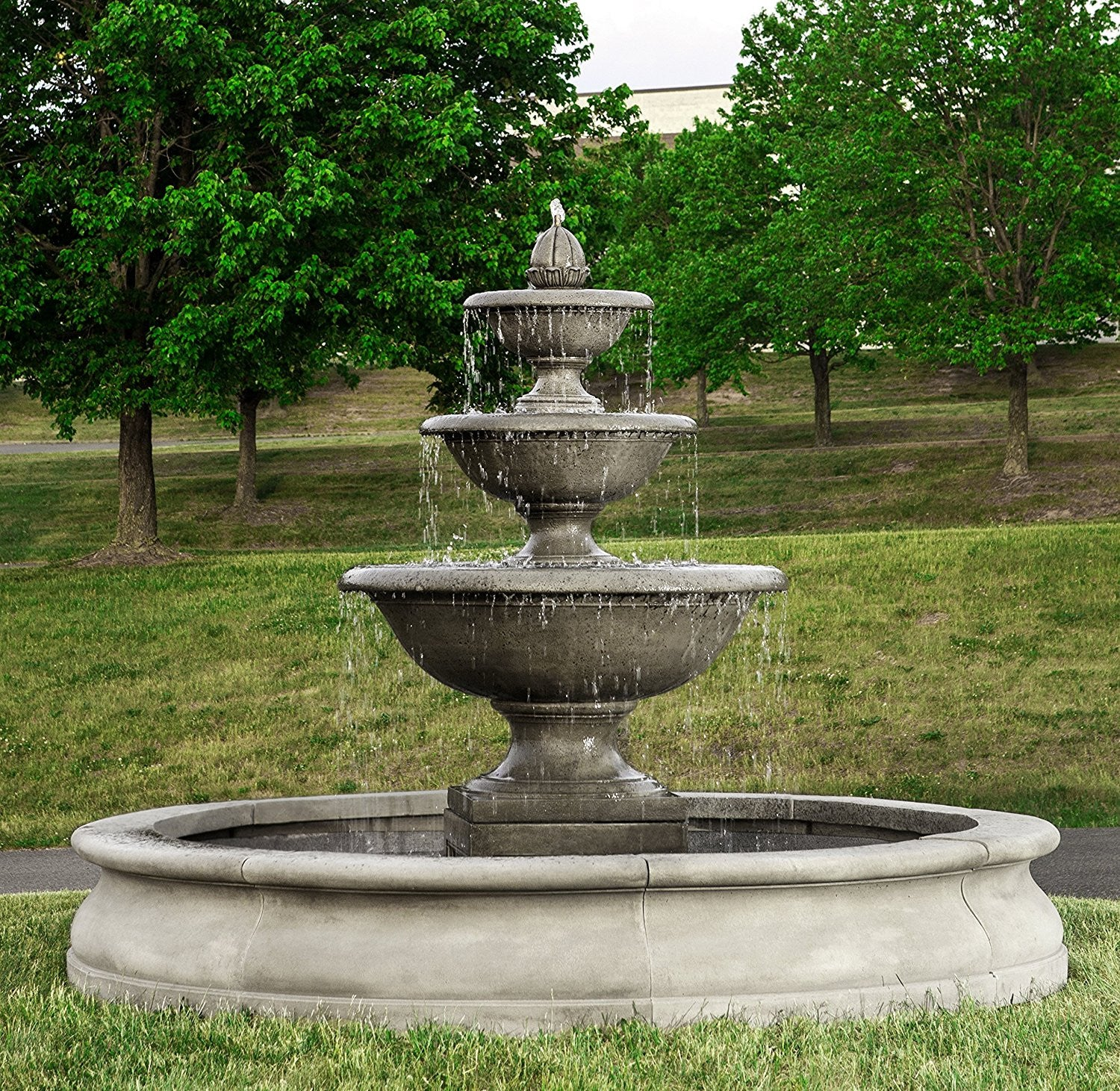 Monteros tiered outdoor water fountain in basin soothing walls