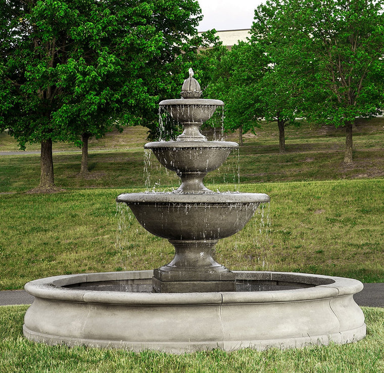 Beau Monteros Tiered Outdoor Water Fountain In Basin   Soothing Walls