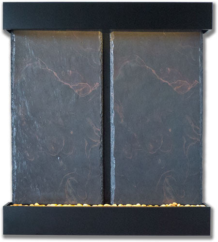 Nojoqui Falls Double Wall Fountain With Black Onyx Trim - Soothing Walls