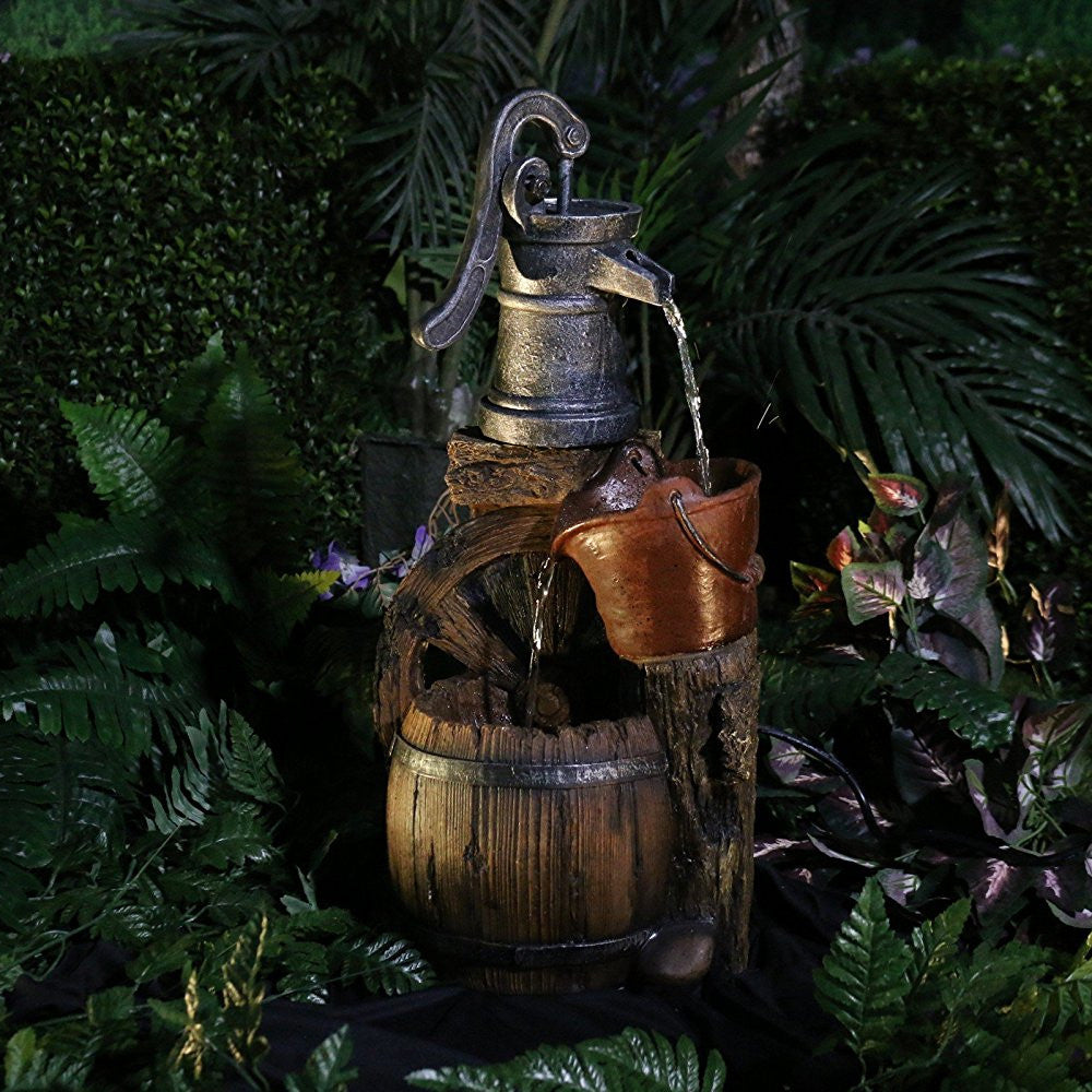 Old Fashion Pump Barrel Fountain - Soothing Walls