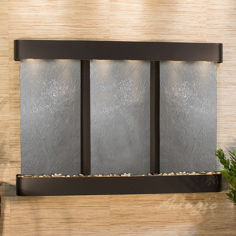 Olympus Falls: Black FeatherStone and Blackened Copper Trim with Rounded Corners