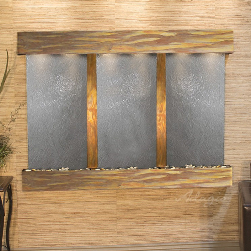 Olympus Falls: Black FeatherStone and Rustic Copper Trim with Squared Corners