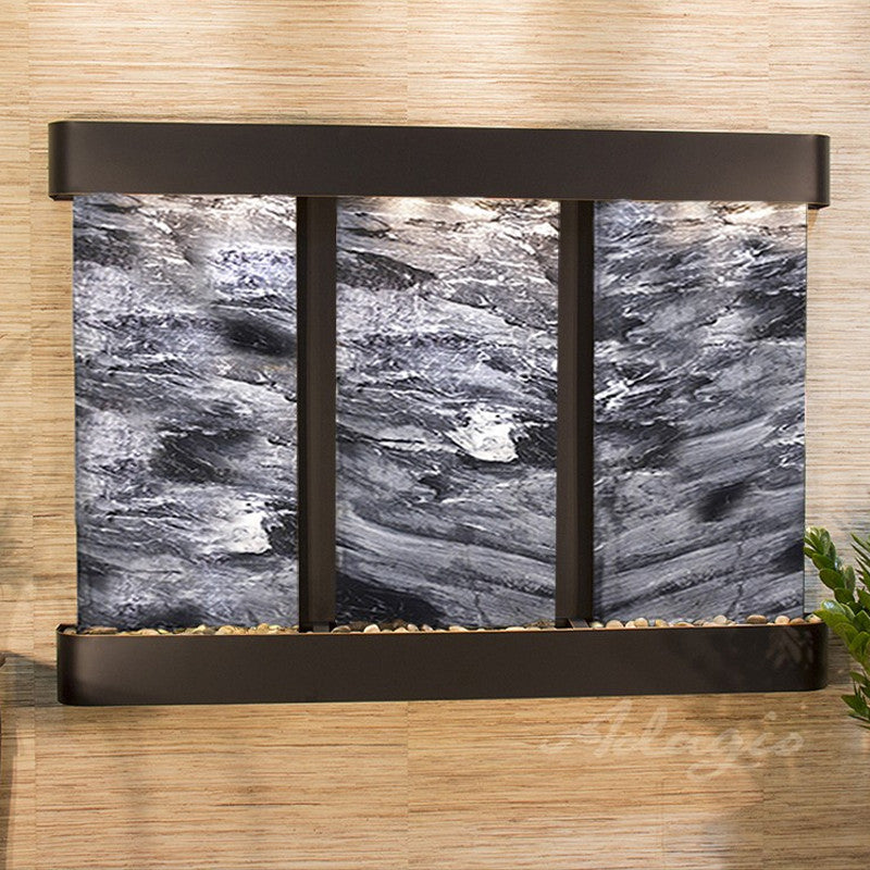 Olympus Falls: Black Spider Marble and Blackened Copper Trim with Rounded Corners