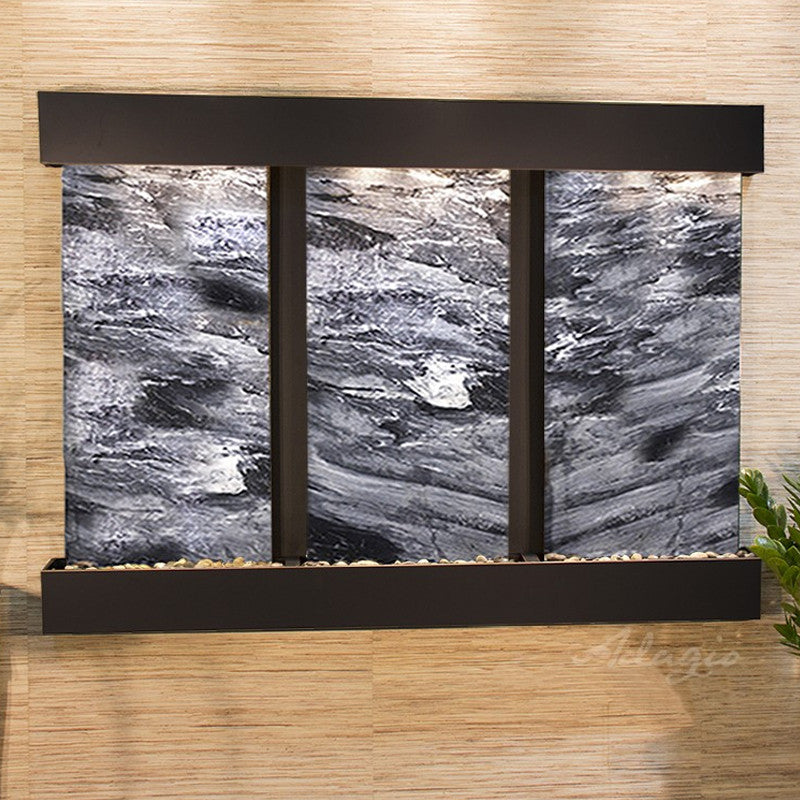 Olympus Falls: Black Spider Marble and Blackened Copper Trim with Squared Corners