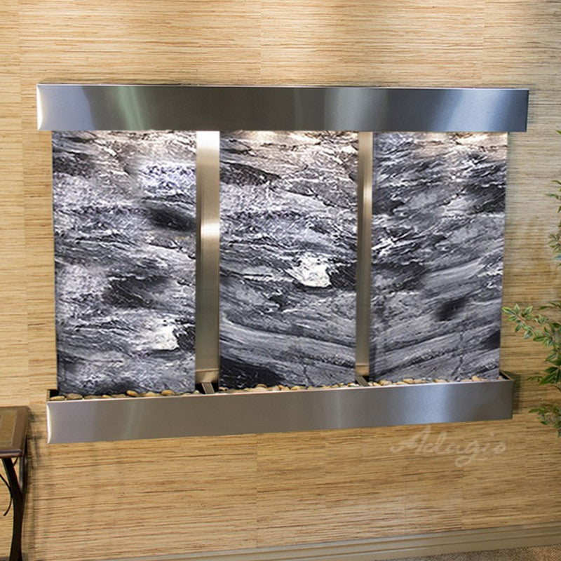 Olympus Falls - Black Spider Marble - Stainless Steel - Squared Corners - Soothing Walls