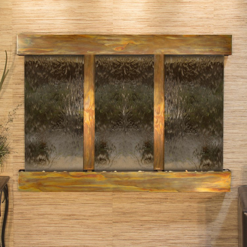 Olympus Falls: Bronze Mirror and Rustic Copper Trim with Squared Corners