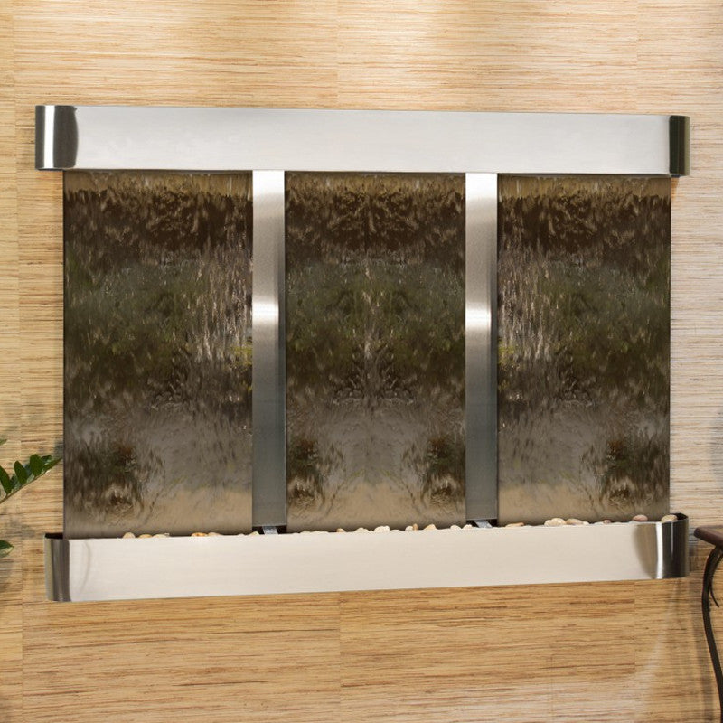Olympus Falls: Bronze Mirror and Stainless Steel Trim with Rounded Corners