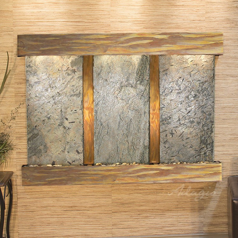Olympus Falls: Green Slate and Rustic Copper Trim with Squared Corners