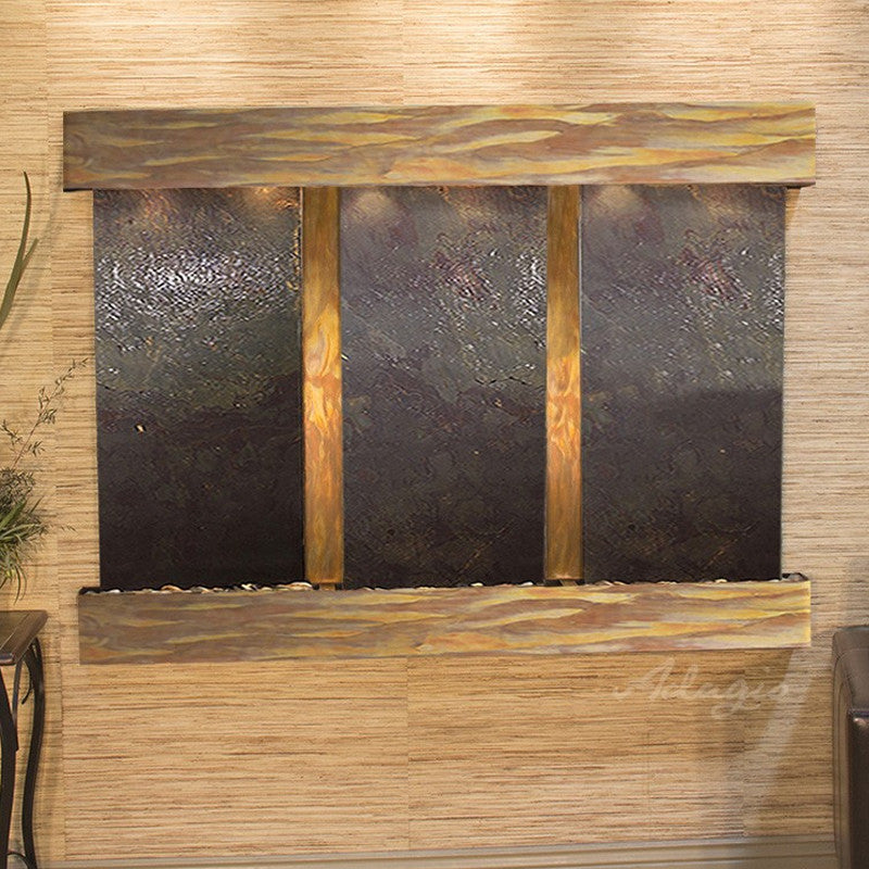 Olympus Falls: Multi-Color FeatherStone and Rustic Copper Trim with Squared Corners