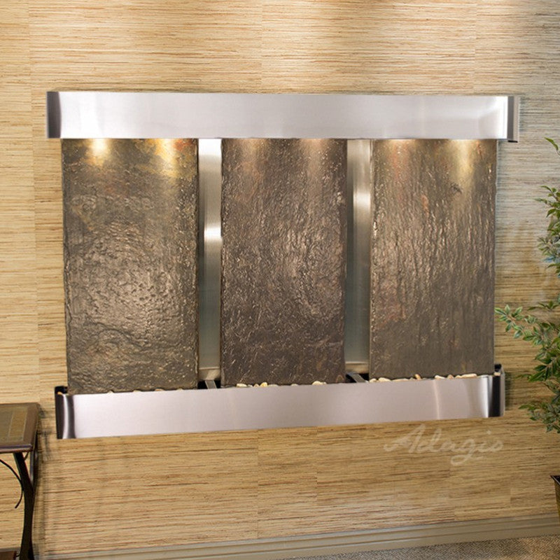Olympus Falls: Multi-Color Slate and Stainless Steel Trim with Rounded Corners