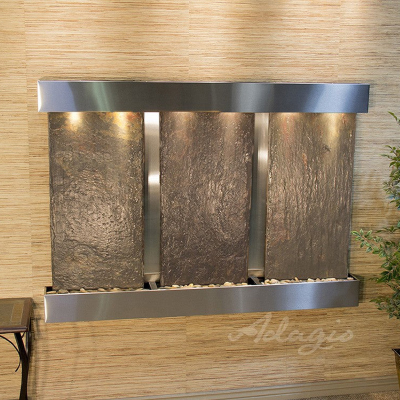 Olympus Falls: Multi-Color Slate and Stainless Steel Trim with Squared Corners