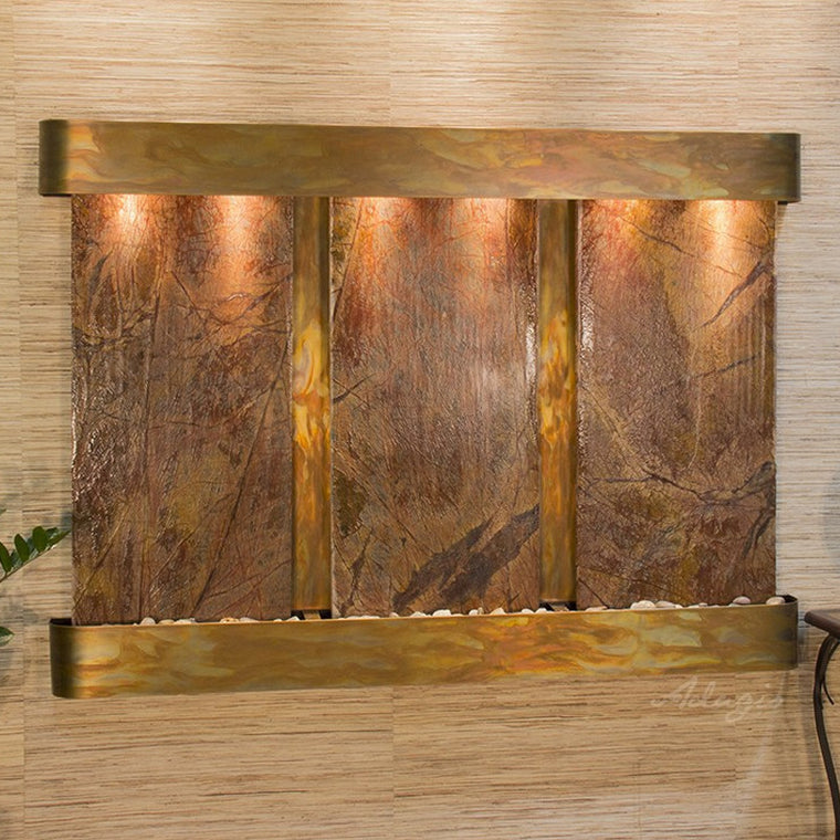 Olympus Falls: Rainforest Brown Marble and Rustic Copper Trim with Rounded Corners